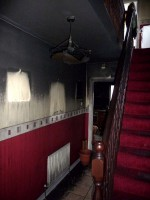 Fire and smoke damaged house hallway before restoration by FutureRestore Fire & Flood Restorations,Donegal,  Ireland